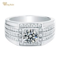 Wong Chuva Luxo 925 Sterling Silver Redonda Cut criados diamantes Moissanite Gemstone Homens acoplamento do casamento Anel Fine Jewelry