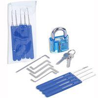 17 PC 연습 잠금 선택 자물쇠 따기 도구 키트 훈련 투명 연습 자물쇠 도매 및 소매