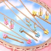 Ювелирные наборы BYNOUCK 3шт / Set Multicolor Акриловые бабочки для женщин Подарки Подвески Серьги Ожерелье Шпилька моды Bijoux Set