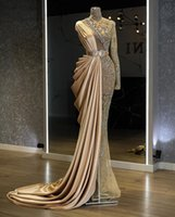 ASO EBI 2021 Árabe Oro Lujoso Sirena Vestidos de noche con cuentas Cristales de cuentas Vestidos de fiesta de cuello alto Partido Formal Segundo Recepción Vestidos ZJ366