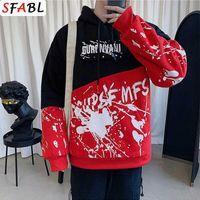 Sfabl mode patchwork hoodie sweatshirt männer pullover tops kapuzen sweatshirt hip hop streetwear männer hoodies japan stil top