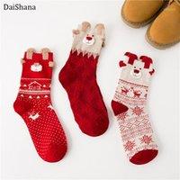 Socken Strumpfwaren! Frauen Weihnachtsgeschenke Stereo Weiche Baumwolle 3D Cartoon Rot Hund Elch Bär Nette Skarpetki1