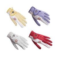Neue Dame Blume Golfhandschuhe Doppelhänden Sport Anti-Rutsch-Granulat Atmungsaktive Frauen Golf Clubs Training Handschuhe 5 Farben 201029