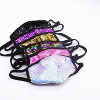 7 colori Paillettes Club maschera di protezione per adulti riutilizzabile lavabile Bling Bling Paillettes della mascherina protettiva antipolvere Bocca Designer maschera facciale copertina AHE2126