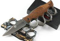 X71 Knuckle Dobrável Faca 440C Titânio Revestido Lâmina de Aço + Alça de Madeira Acampamento Ao Ar Livre Facas táticas com caixa de varejo