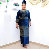 Этническая одежда 3 кусок наборов Верхов и юбка 2021 Весна Осень Африка Мусульманское Длинное Maxi Платье Высокое Качество Мода Африканский Для Леди