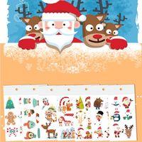 عيد ميلاد سعيد TATTO ملصق المؤقتة الجسم فن الوشم لفتاة فتى لطيف ندفة الثلج الأيل الوجه الرقبة الذراع ماكياج تصميم وهمية الأزياء ملصق