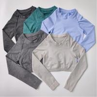 Outfits Йоги Непоагим, действующие базовые Женщины обрезанные бесшовные верхние гладкие мягкие с помощью щетки на спине с длинным рукавом.