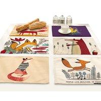 동물 만화 폭스 플레이스 매트 식탁 음료 코스터 꽃 홈 액세서리 주방 인쇄 재료 헝겊 매트 패드 T200703