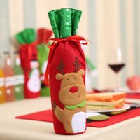 Самые дешевые 32 * 13см Рождество бутылка вина крышка сумки Новогоднее украшение подарок Рождественский орнамент Таблица бутылки сумка для вечеринок AHD2263