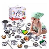 Littlove 25 Pcs Aço Inoxidável Kids Casa Brinquedos Cozinha Cozinha Cookware Crianças Finja Play De Cozinha Playset - Figuras de Prata Y200428