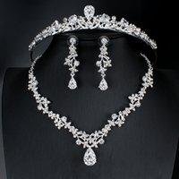 Luxus Kristall Brautschmuck Set Hochzeit Zirkonia Krone Kopfschmuck Ohrringe Halskette Halskette Set Afrikanische Schmuckset