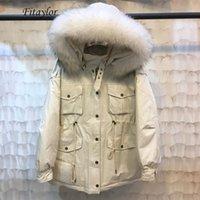 Fitaylor зимние женщины теплые с капюшоном вниз пальто с капюшоном на 90% белая утка вниз Parka большой енотный меховой воротник на улице Верхняя одежда1
