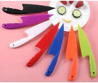 Faca de cozinha DIY para crianças seguras alface salada faca serrilhada cortador plástico cortador slicer faca de pão de pão café da manhã ferramentas lls705