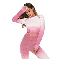 Yoga Outfits Женщины Устанавливает Полный рукав Высокая талия Спортивные Леггинсы Гидрафон Set Одежда Спортивный Костюм Фитнес Топ Рубашка Suite1