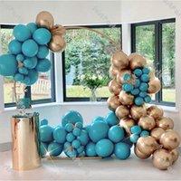 100 قطع الكروم الذهب معدن بالونات جارلاند ماتي الأزرق اللاتكس بالون مجموعة عيد الحب الديكور لوازم الزفاف استحمام الطفل F1222