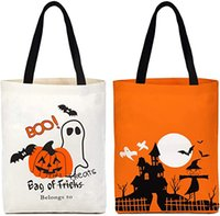 Happy Halloween Tote Bag   Trick or Treat Pumpkin Candy Canvas Bags Reusable Grocery Shopping Bag Children Goody Bag For Party HH9-3355