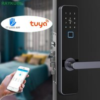 Raykube Biométrico Fingerprint Bluetooth TT WiFi Tuya Electronic Smart Porta Segurança Grande Mortise Lock R-FZ4 201013