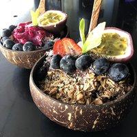 Trend naturale noce di cocco ciotola da tavola della cucina set Cucchiaio di cocco Ciotola di frutta insalata di pasta Rice Bowl strumenti creativi di legno C1005