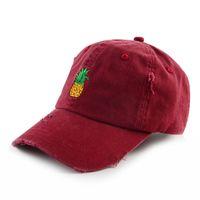 Designer ricamo piano Distressed papà Cap su ordinazione del cappello non strutturati Strappato Distressed 6 Pannello Curve Brim cappello di baseball per l'adulto
