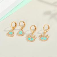 المعادن الزركون مثلث التركية العين هوب أقراط للإناث هدية مجوهرات البوهيمي حجر الراين رمش العين دائرة صغيرة earrings