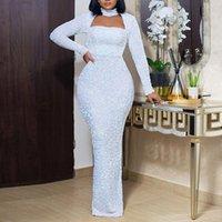 Элегантное вечернее белое платье длинные для женщин вечеринка клуб сексуальная полая водолазка осень плюс размер bodycon maxi платья свадьба 2021 q1229