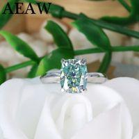 Verde Blu Cuscino taglio 3ct Moissanite Centro Pietra 2ct Moissanite anello di fidanzamento d'argento 201112