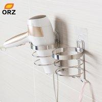 Orz secador de cabelo suporte com gancho parede montada banheiro organizador prateleira banheiro de armazenamento de armazenamento de cabelo suporte de cabelo acessórios de banheiro y200429