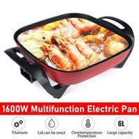 6L 1600W elétrica pasta quente frigideira multicooker liga de alumínio non vara frigideiras elétricas cozinhar panelas de sopa vapor1