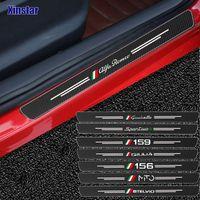 4 stücke Kohlefaser Auto Tür Aufkleber für Alfa Romeo Giulia Giulietta 159 156 Mito Stelvio 147 Sportiva Auto Zubehör