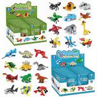 Детский мультфильм игрушечный слепой ящик, совместимый с небольшими частицами, собранный строительный блок животных модель