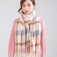Горячие Продажа-2020 WinterAutumn 100% Real Шерстяные шарфы для женщин кистями Плед палантины Платки Ladies Luxury обустроена Теплый Длинные моды Sacrf