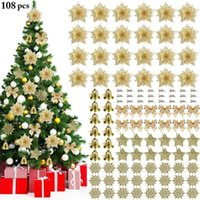 Decorazione natalizia Set Snowflake Snowflake Star Bow Brow Bell Belling Ornament Xmas Tree Flower Christmas Home Decoration Capodanno 20201