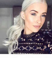 Prata cinza cabelo rabo de cavalo prata prata cinza pão afro ou sopro solta onda cordial cabelo humano cabelo clipe em cabelo real venda quente