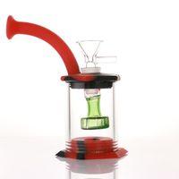 Assemblez silicone Bong 5.9inch douche tête percolateur facile à nettoyer Dab Rig 4 mm quartz Banger huile de tube de silicone de verre en verre truque bongs