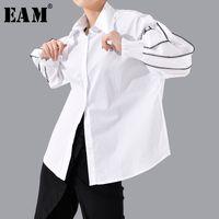 [EAM] Женщины Split Joint Большой размер Блуза Новые нагрудные Длинные рукава Фонарь Сыпучие Fit рубашка Мода Tide весна осень 1T802 201027