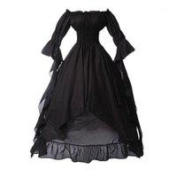 고딕 중세 드레스 여성 복고풍 스타일 솔리드 컬러 고귀한 드레스 트럼펫 소매 공주 파티 코스프레 레트로 Vestidos D31
