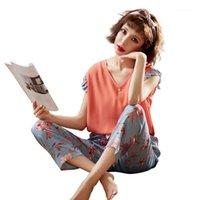 Женские пижамы домашнего обслуживания летнее пижамы хлопчатобумажные без рукавов ночь набор женщин тонкий раздел