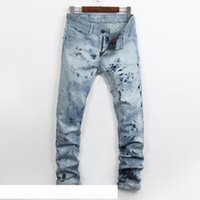 New Street Jeans Hommes Casual Hommes Jeans Jeans Fried Snowflake Big vente Nails Hommes Slim Straight Pantalons Pantalons Homme Denim Eau Washes