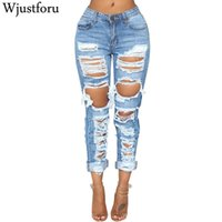 Wjustforu Sexy Ripped Jeans Women Bodycon Fashion Club Hole ...