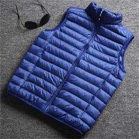Azul Inverno Mens Down Colete Outono Leve Sem Mangas Jaqueta De Moda De Moda Coleira Grande Tamanho Grande Loxo Masculino Colocinho