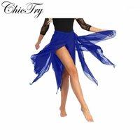 Desgaste de la etapa Mujeres Mujeres Asimétricas Faldas Faldas Chiffon Profesional Ballet Dancewear Wrap Side Split Split Dance Belly Dance Skirt1
