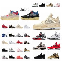 2021 4 4 4S UNION NOIR Guago Ice Jumpman Mens Shoes Sail Neon Metallic Purple