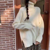HKCP Casual Woman Maglione Bottoming Ufficio Lady Fashion Solid Tolido Dolcevita a maniche lunghe Caldo Spesso Allentato Mollover a maglia invernale1