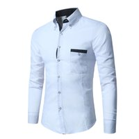 New Listing Business Business Business Pocket Bianco Casual Slim Slim a maniche lunghe M-XXL Yaofen