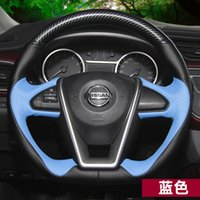 DIY Hand-genähtes Leder-Auto-Lenkrad-Abdeckung für Nissan New Blue Bird X-Trail Qashqai