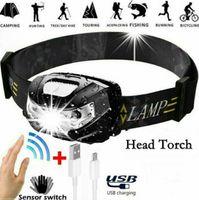 3W USB Recarregável CREE LED Feadlamp Wave Indução Interruptor de Indução Cabeça Lanterna Tocha Luzes Inteligente Sensor Farol com bateria