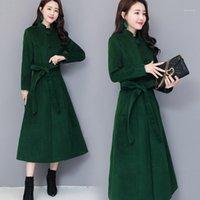 2020 شتاء جديد سترة الكشمير كان رقيقة الدائمة طوق السوبر طويل الصوف الصوفية بلون معطف المرأة على الأزياء الصوفية معطف 1