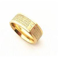 Gold Silber Edelstahl English Lords Gebetskreuz etaching Polierring (Wmtels ganz 2019