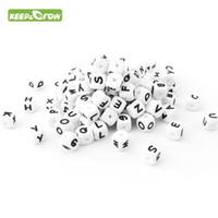 Perline KEEPGROW 500Pcs lettera silicone 12 millimetri Beads Teether Bambino che mastica Alfabeto Perle Per personalizzati nome collana dentizione fai da te